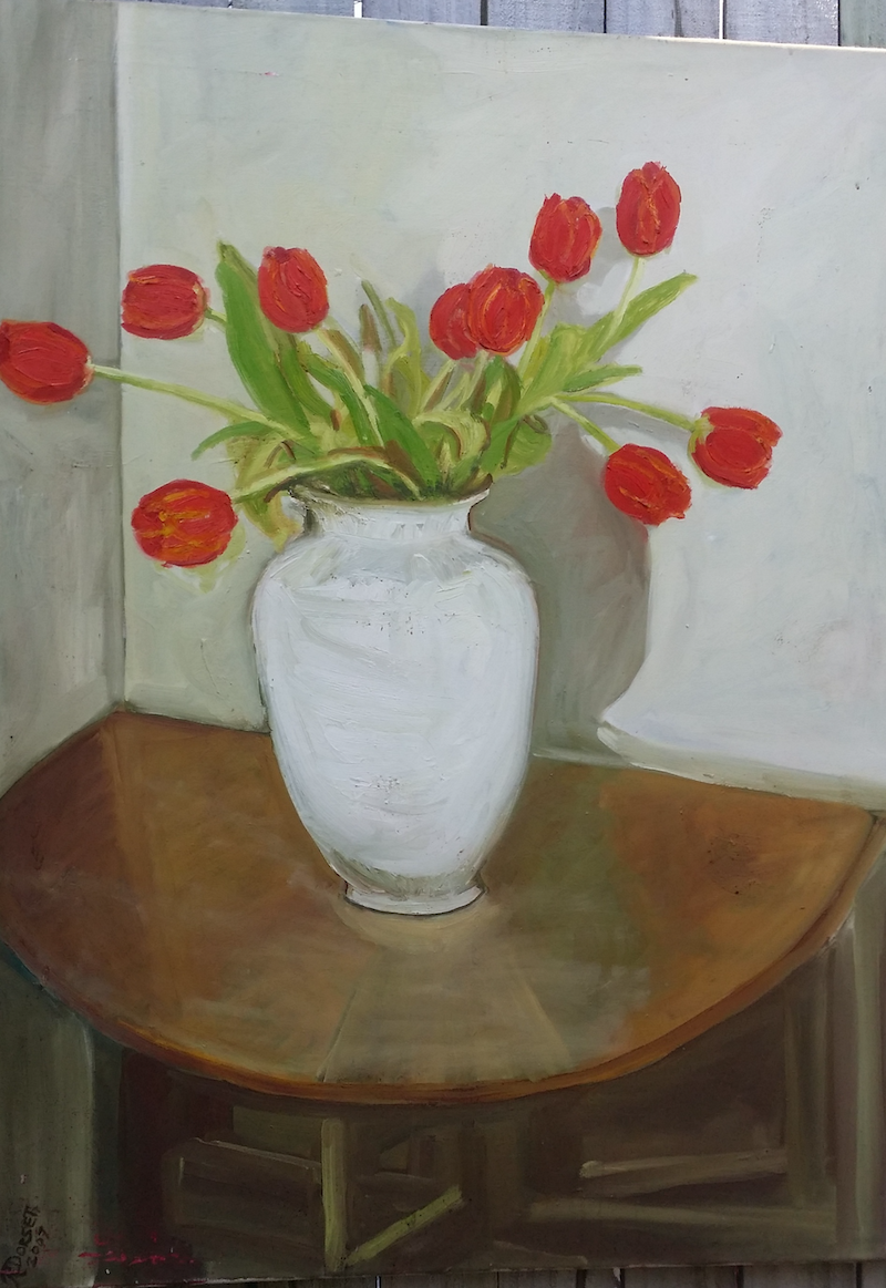 (CreativeWork) Red Poppies by Rosie Dorsett. Oil Paint. Shop online at Bluethumb.