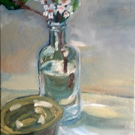 (CreativeWork) First Spring Jasmin by Rosie Dorsett. Oil Paint. Shop online at Bluethumb.