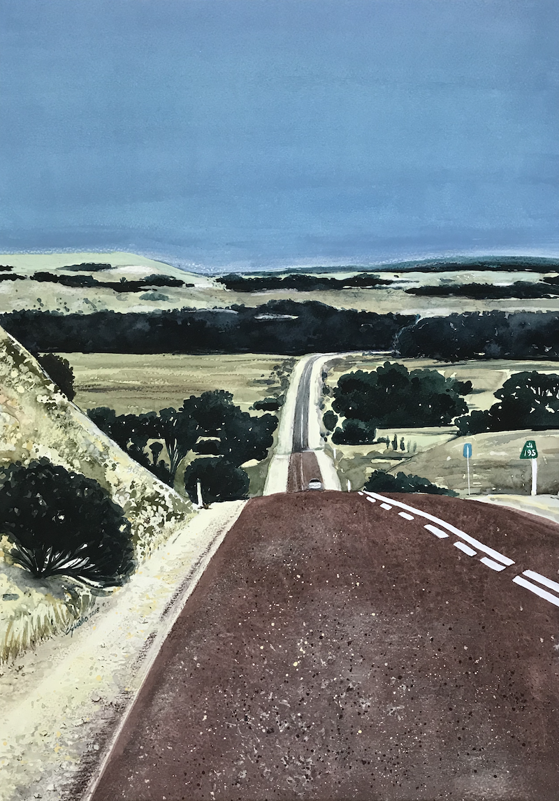 (CreativeWork) The Road by Claudine Gueho. Mixed Media. Shop online at Bluethumb.