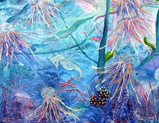 (CreativeWork) Underwater Fantasy in Blue (Large) by Monika Scheffler. Mixed Media. Shop online at Bluethumb.