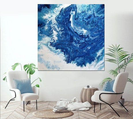 (CreativeWork) Ocean Rush by Brigitte Ackland. Acrylic Paint. Shop online at Bluethumb.