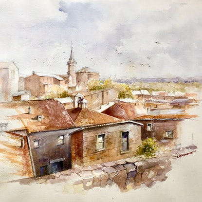 (CreativeWork) Orvieto View,  Italy  by Geoff Stanistreet. Watercolour Paint. Shop online at Bluethumb.