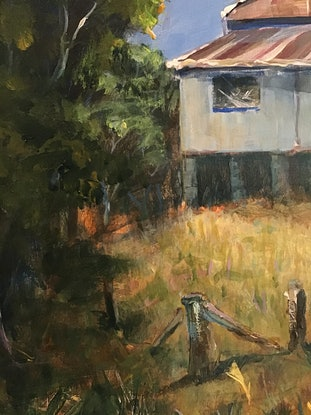 (CreativeWork) Farmhouse Tranquility NSW North Coast  by Colin Hadfield. Acrylic Paint. Shop online at Bluethumb.