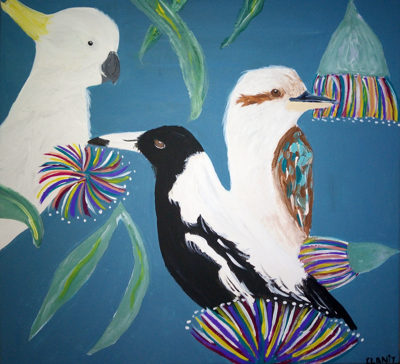 (CreativeWork) Just Hanging Out by Ilanit Pocock (Vanu). Acrylic Paint. Shop online at Bluethumb.