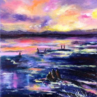 (CreativeWork) Pastel Radiance by Sue Burton. acrylic-painting. Shop online at Bluethumb.