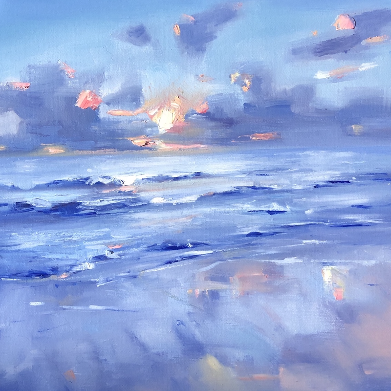 (CreativeWork) Sun Sinking by Jo Meredith. Oil Paint. Shop online at Bluethumb.