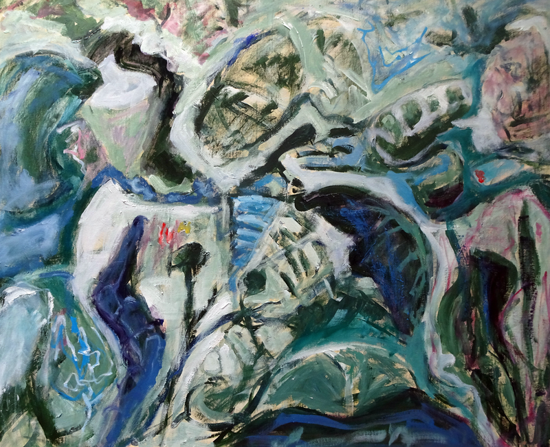 (CreativeWork) ABSTRACT SEAWEED 1 by Maureen Finck. Oil Paint. Shop online at Bluethumb.