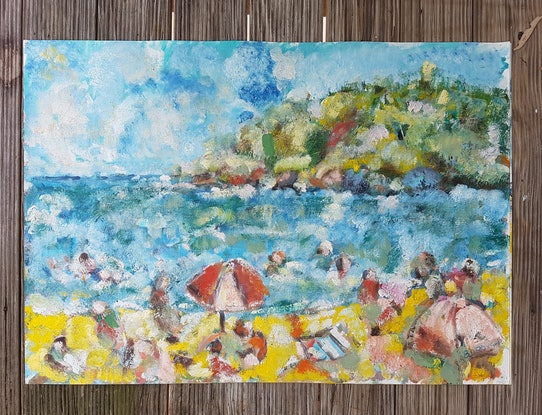 (CreativeWork) Main Beach Noosa. First Point. by Graham Borough. Oil Paint. Shop online at Bluethumb.