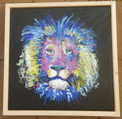 (CreativeWork) Colourful Lion by Kerry T. Acrylic Paint. Shop online at Bluethumb.