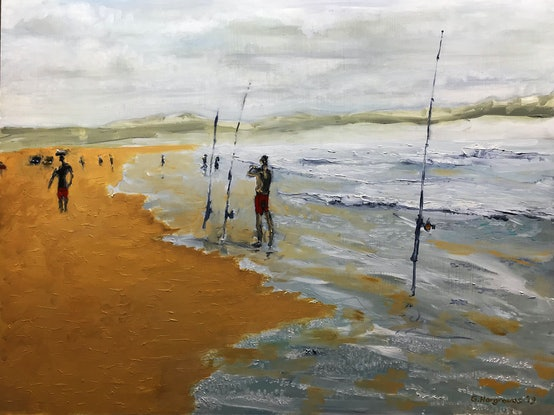 (CreativeWork) Fishing, Greenhills Beach by Geoff Hargraves. Oil Paint. Shop online at Bluethumb.