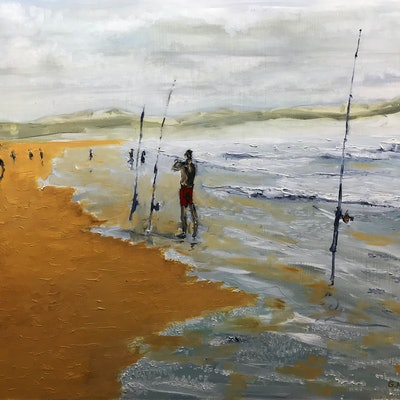 (CreativeWork) Fishing, Greenhills Beach by Geoff Hargraves. oil-painting. Shop online at Bluethumb.