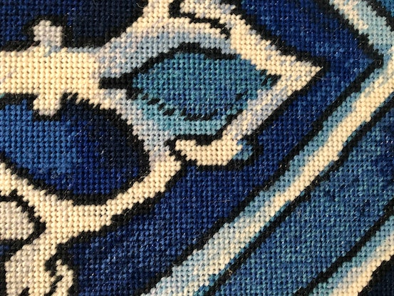 (CreativeWork) Blue Mood original needlepoint tapestry  by Natalie Fisher. Other Media. Shop online at Bluethumb.