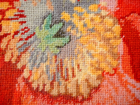 (CreativeWork) Poppies original needlepoint tapestry  by Natalie Fisher. Other Media. Shop online at Bluethumb.