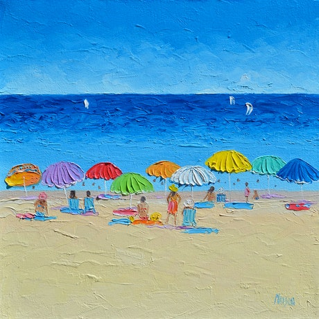 (CreativeWork) SUMMERTIME - BEACH ART by Jan Matson. Oil Paint. Shop online at Bluethumb.