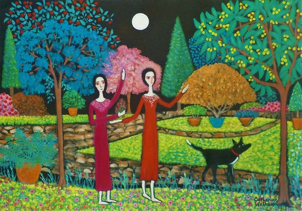 """(CreativeWork) """" Dancing in the Moonlight"""" by Catherine Walker. Acrylic Paint. Shop online at Bluethumb."""