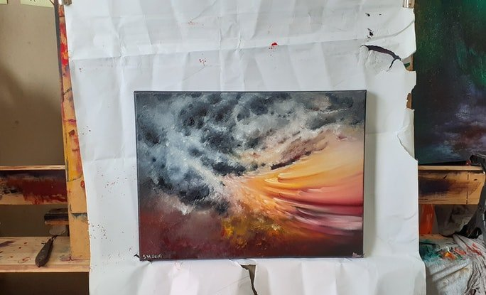 (CreativeWork) Ocean Of Storms 2 by Scott Maxwell. Oil Paint. Shop online at Bluethumb.