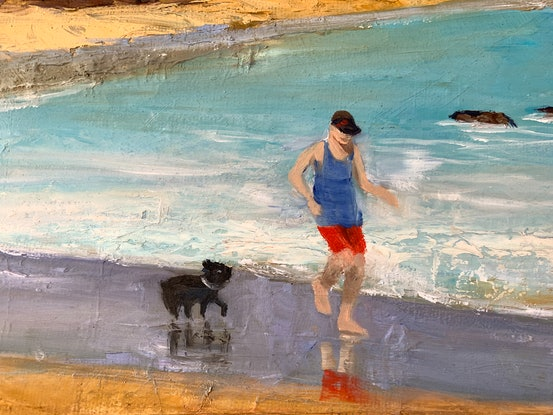 (CreativeWork) Dee why beach by Shelly Du. Oil Paint. Shop online at Bluethumb.