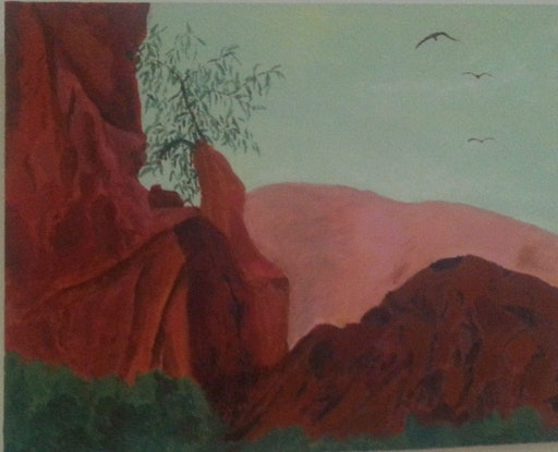 (CreativeWork) Australian Outback by Elisabeth Puruto. Acrylic Paint. Shop online at Bluethumb.