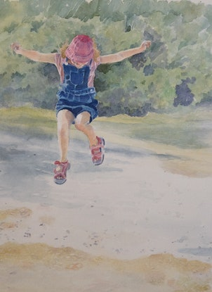 (CreativeWork) The Joy of Puddles by Linda Parkinson. Watercolour Paint. Shop online at Bluethumb.