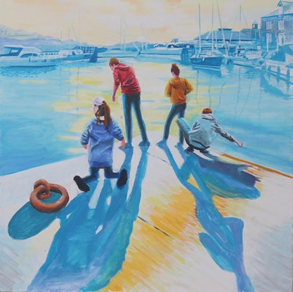(CreativeWork) Fishing at Padstow by Christopher Steele. Oil Paint. Shop online at Bluethumb.