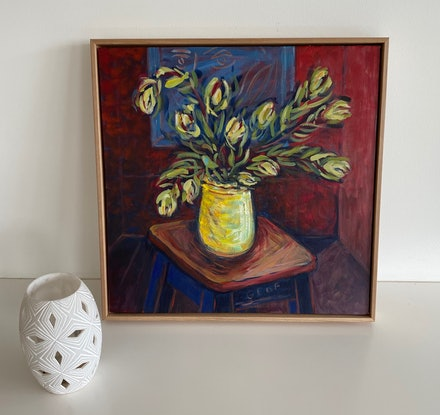 (CreativeWork) Still Life after Pruning with Matisse in Mind by Susan Ruming. Acrylic Paint. Shop online at Bluethumb.