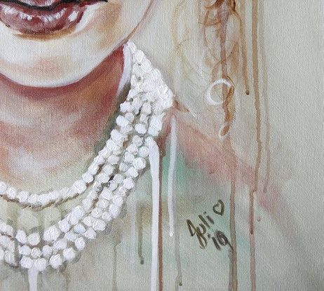 (CreativeWork) Woman in Pearls by julie hollis. Acrylic Paint. Shop online at Bluethumb.