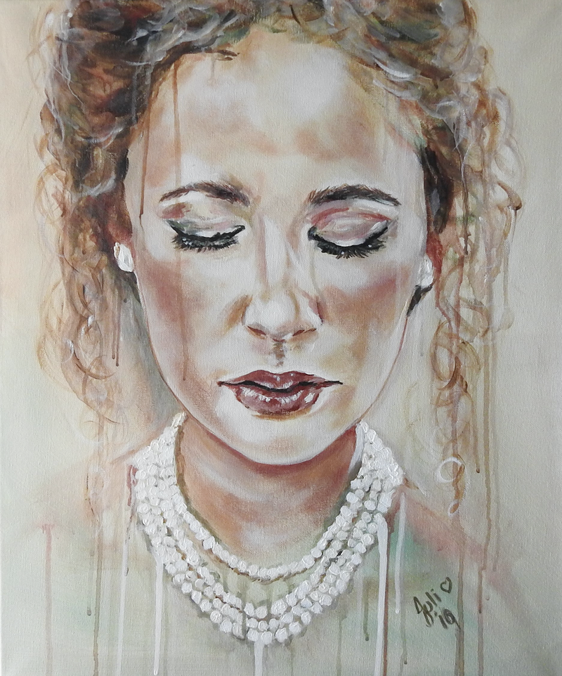 (CreativeWork) Woman in Pearls by julie hollis. #<Filter:0x00007f7cb4ac92d8>. Shop online at Bluethumb.