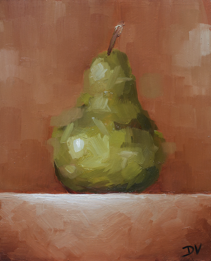 (CreativeWork) Edgy Beurré Bosc Pear No.3 by Damien Venditti. Oil Paint. Shop online at Bluethumb.