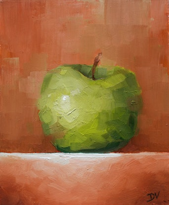 (CreativeWork) Granny Smith Apple No.3  by Damien Venditti. Oil Paint. Shop online at Bluethumb.