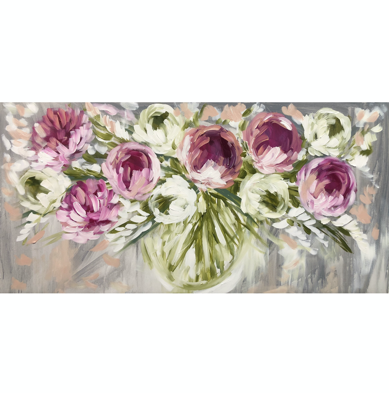 (CreativeWork) Classical peony and tulips  by Amanda Brooks. Acrylic Paint. Shop online at Bluethumb.
