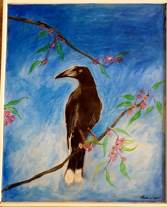 (CreativeWork) The currawong by Renee winfield. Acrylic Paint. Shop online at Bluethumb.