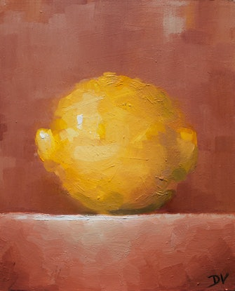 (CreativeWork) Home Grown Lemon No.3 by Damien Venditti. Oil Paint. Shop online at Bluethumb.