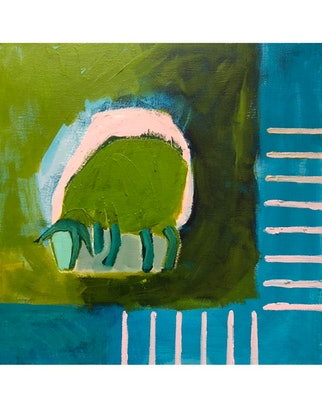 (CreativeWork) 'Sheep in Lime Green' by Margo Carlon. Acrylic Paint. Shop online at Bluethumb.