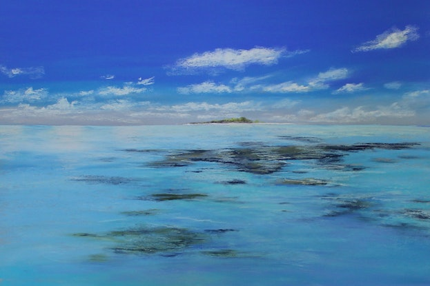 (CreativeWork) Blue Oasis  by Ann Steer. Drawings. Shop online at Bluethumb.