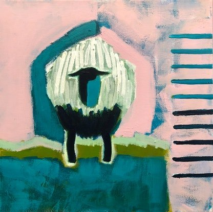 (CreativeWork) 'Sheep with Shed' by Margo Carlon. Acrylic Paint. Shop online at Bluethumb.