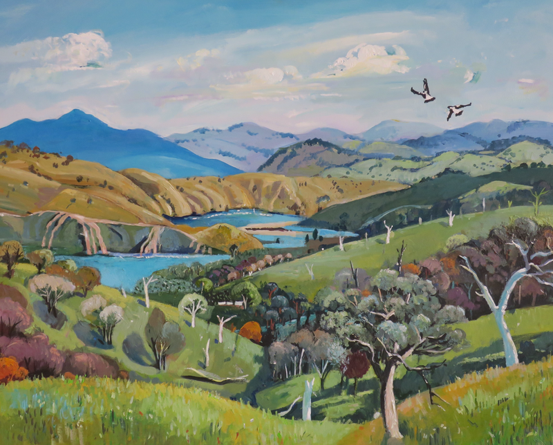 (CreativeWork) Australian landscape  - Summer Feeling by Susan Trudinger. Acrylic Paint. Shop online at Bluethumb.