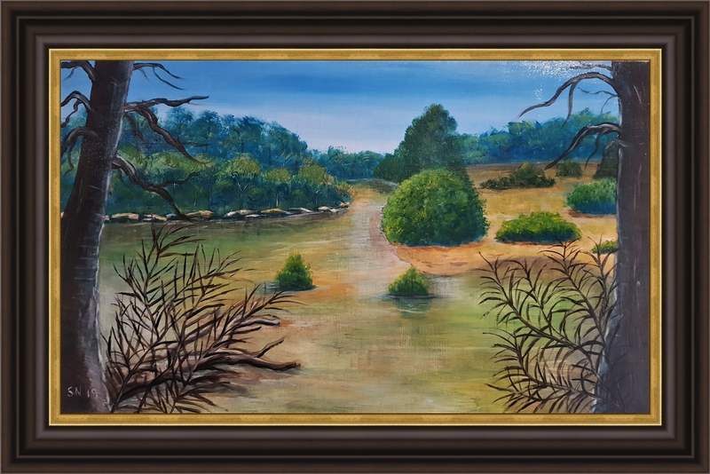 (CreativeWork) The Bay , Beach  by Sylvia Nobes. Acrylic Paint. Shop online at Bluethumb.