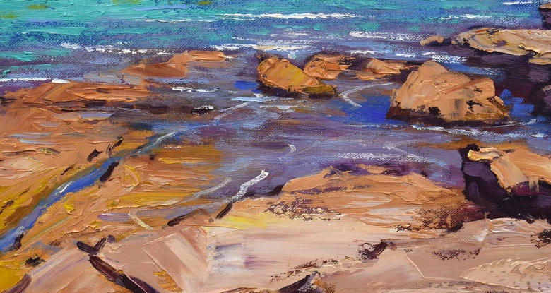 (CreativeWork) Turquoise water Jervis Bay, nsw by Graham Gercken. Oil Paint. Shop online at Bluethumb.