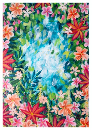 (CreativeWork) Paradise  (painting on paper) by Alison Ashley. Mixed Media. Shop online at Bluethumb.
