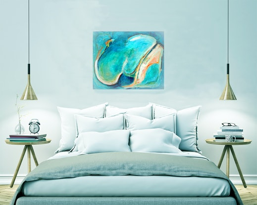 (CreativeWork) Turquoise Lagoon by Dianne Lofts-Taylor. Acrylic Paint. Shop online at Bluethumb.