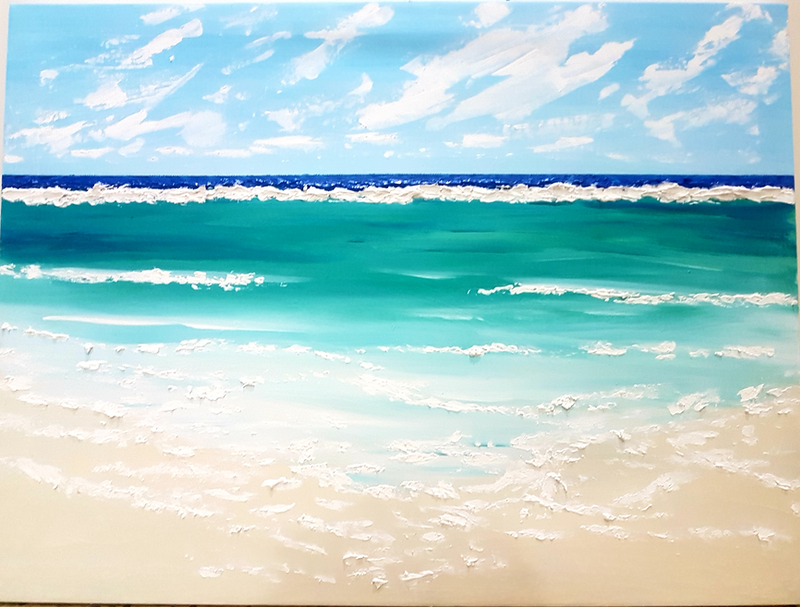 (CreativeWork) Reef Break by Wendy Hocking. Acrylic Paint. Shop online at Bluethumb.