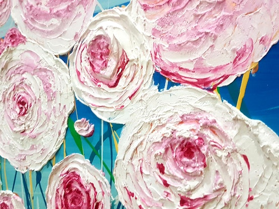 (CreativeWork) Seaside Blooms  by Wendy Hocking. Acrylic Paint. Shop online at Bluethumb.