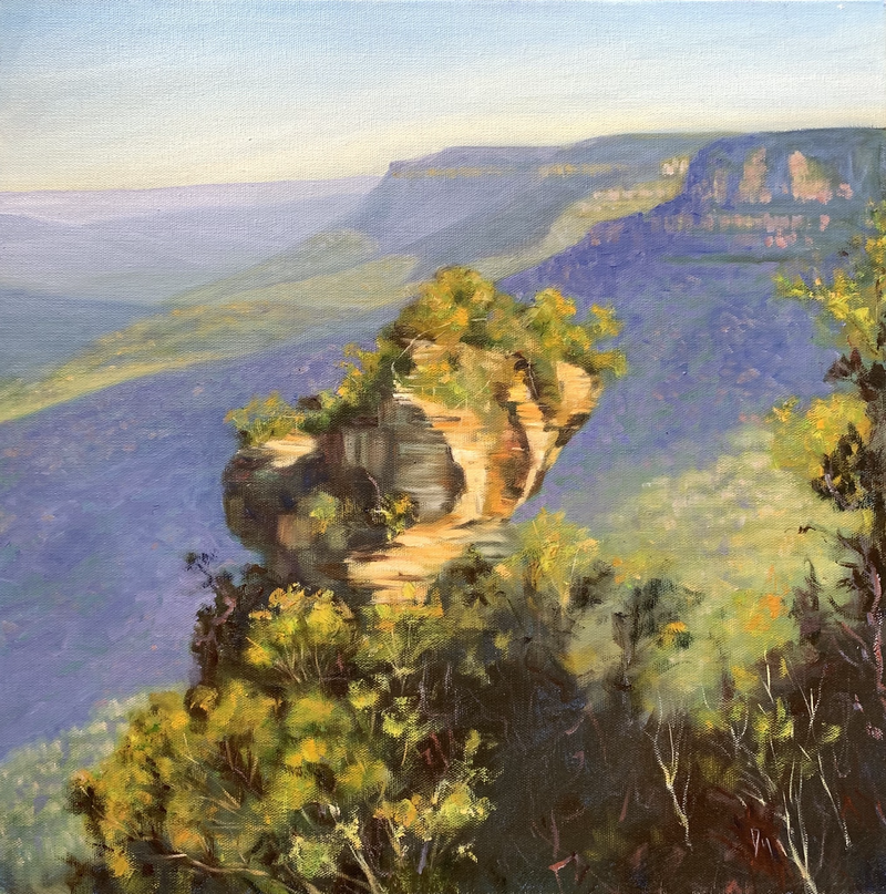 (CreativeWork) Blue mountains  by Shelly Du. Oil Paint. Shop online at Bluethumb.