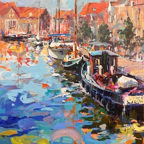 (CreativeWork) Inner Harbour in Enkhuizen,  Netherlands by Jos Coufreur. Acrylic Paint. Shop online at Bluethumb.