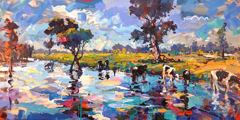 (CreativeWork) Cows in Stream by Jos Coufreur. Acrylic Paint. Shop online at Bluethumb.