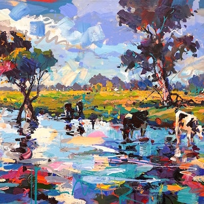 (CreativeWork) Cows in Stream by Jos Coufreur. #<Filter:0x00007fd6603c1f98>. Shop online at Bluethumb.