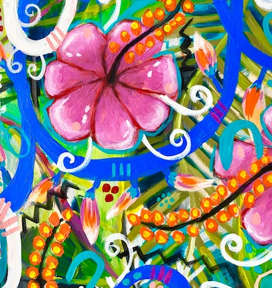 (CreativeWork) Hearlands: the tropics by Nicole Duyst. Mixed Media. Shop online at Bluethumb.