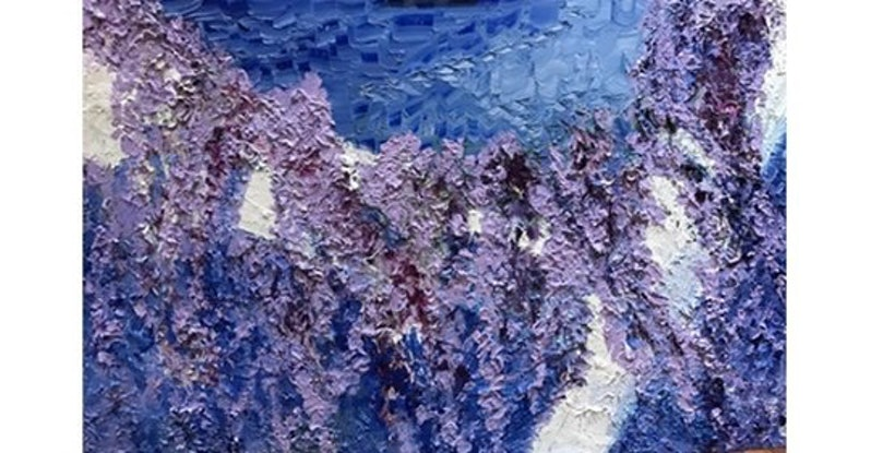 (CreativeWork) Wisteria skies  by Archana Sinh. Oil Paint. Shop online at Bluethumb.