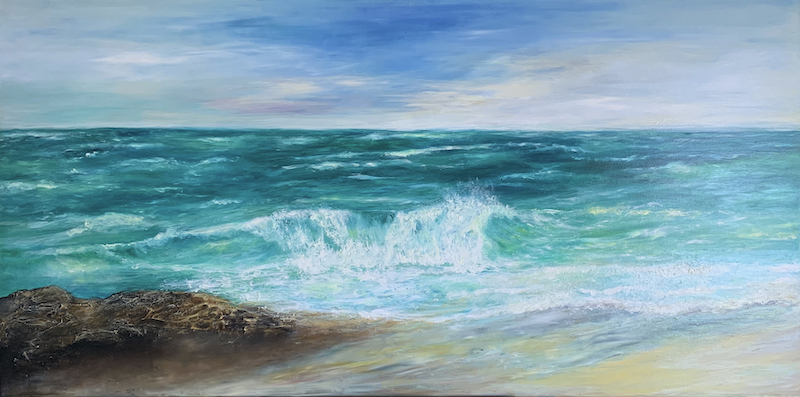 (CreativeWork) Beach Beauty by Chris Leefe. Oil Paint. Shop online at Bluethumb.