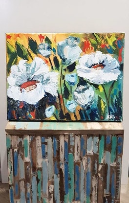 (CreativeWork) Summer Blooms (1) by Leigh Elks. Acrylic Paint. Shop online at Bluethumb.